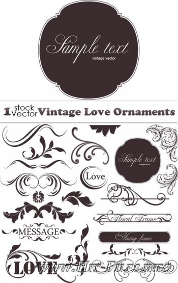 Vintage Love Ornaments Vector