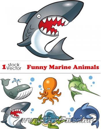 Funny Marine Animals Vector