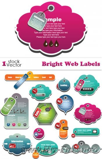 Bright Web Labels Vector