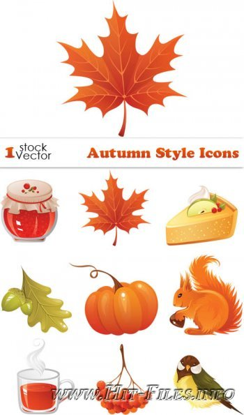 Autumn Style Icons Vector
