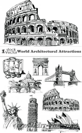 World Architectural Attractions Vector