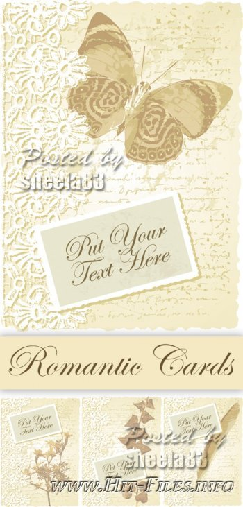 Beige Romantic Cards Vector